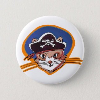 pirate kitty cartoon style funny illustration pinback button