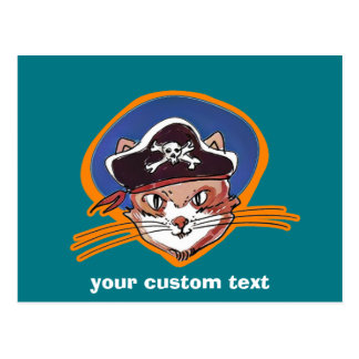 pirate kitty cartoon style funny illustration postcard