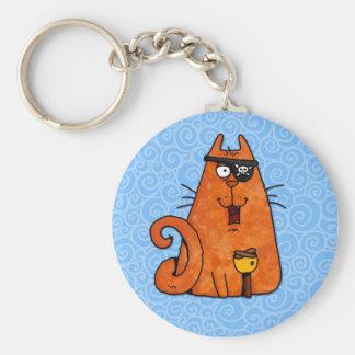 pirate kitty basic round button keychain