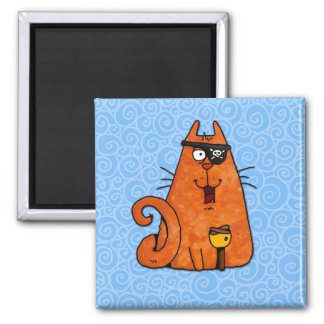 pirate kitty 2 inch square magnet