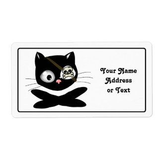 Pirate Kitty with Pink Nose (TLAPD) Personalized Shipping Labels