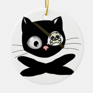 Pirate Kitty with Pink Nose (TLAPD) Christmas Ornaments