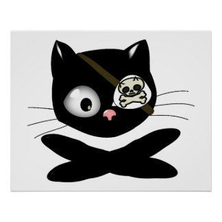 Pirate Kitty with Pink Nose TLAPD Posters