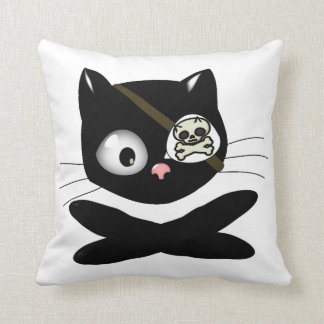 Pirate Kitty with Pink Nose (TLAPD) Throw Pillow