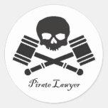 Pirate Lawyer Round Sticker w/ Border