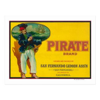 Pirate Lemon LabelSan Fernando, CA Postcard