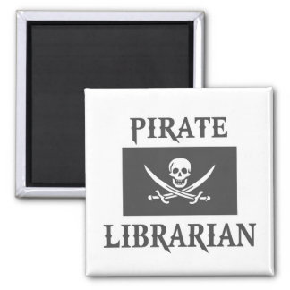 Pirate Librarian 2 Inch Square Magnet