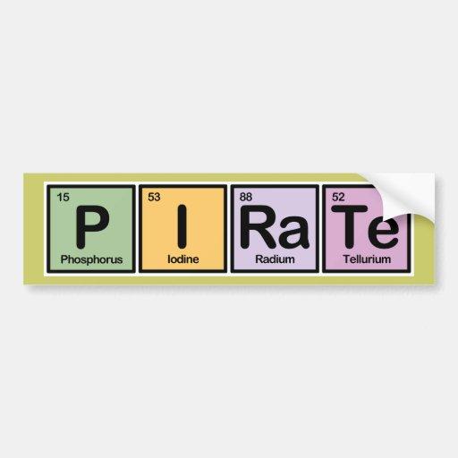 Pirate made of Elements Bumper Sticker