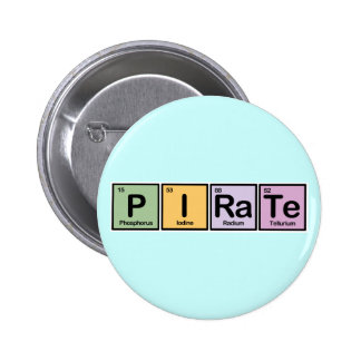 Pirate made of Elements 2 Inch Round Button
