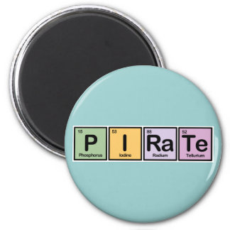 Pirate made of Elements Fridge Magnets
