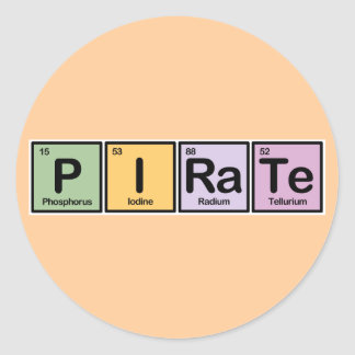 Pirate made of Elements Round Sticker