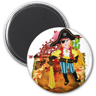 Pirate 2 Inch Round Magnet
