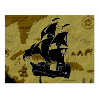 Pirate Map #1, Tattered Ship Postcard