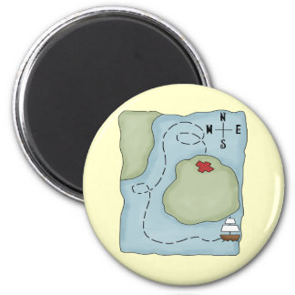 Pirate Map 2 Inch Round Magnet