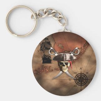 Pirate Map Basic Round Button Keychain