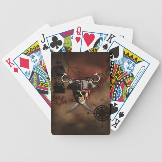 Pirate Map Bicycle Playing Cards