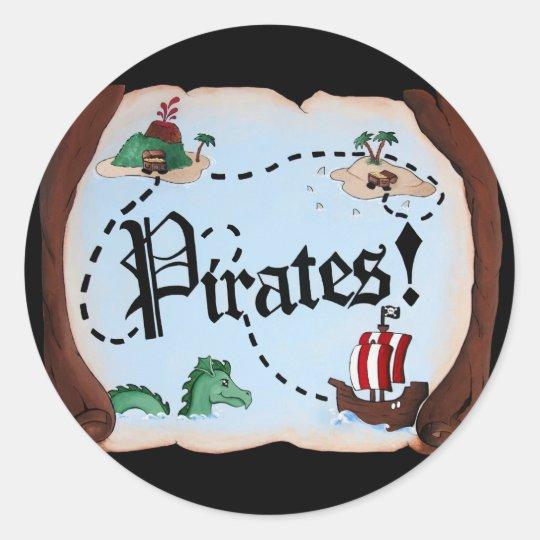 Pirate Map Classic Round Sticker