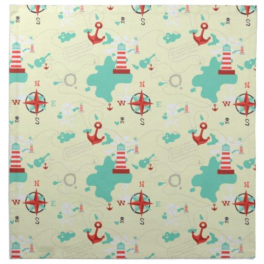 pirate map cloth napkin