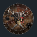 "Pirate Map Dart Board<br><div class=""desc"">Pirate skull,  eye patch,  pirate hat,  and crossed swords over an antique style nautical map of the Florida Keys,  historically the islands of the Keys were used by pirates as a hideout and base.</div>"