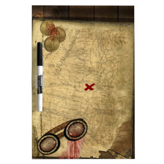 Pirate Map, Gold Coins and Dry-Erase Board