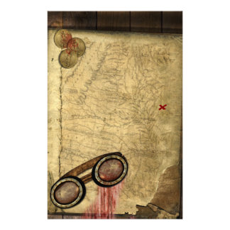 Pirate Map, Gold Coins and Stationery