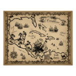 Pirate Map of the Caribbean with Kraken Poster
