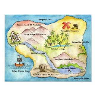 """Pirate Map Party Invitation 4.25""""x 5.5"""""""