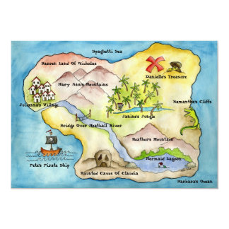 """Pirate Map Party Invitation 5""""x 7"""""""