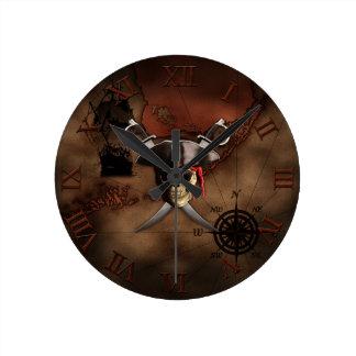 Pirate Map Round Clock