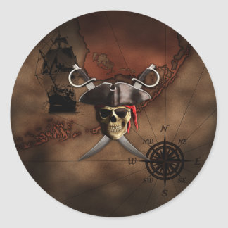 Pirate Map Round Sticker
