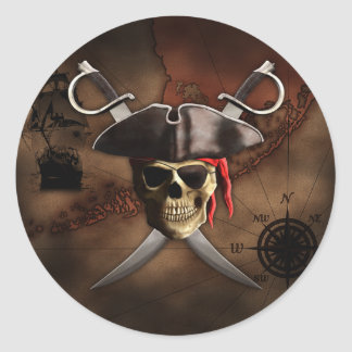 Pirate Map Round Stickers