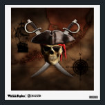 """Pirate Map Wall Decal<br><div class=""""desc"""">Pirate skull,  eye patch,  pirate hat,  and crossed swords over an antique style nautical map of the Florida Keys,  historically the islands of the Keys were used by pirates as a hideout and base.</div>"""