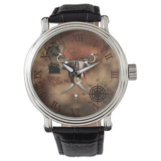 Pirate Map Wrist Watches