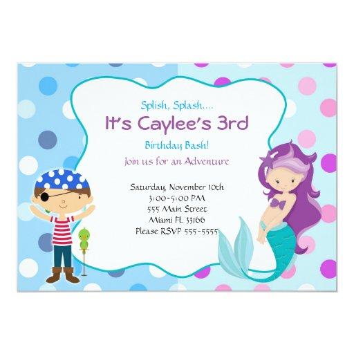 Pirate Mermaid Invitation Kids Birthday Party | Zazzle