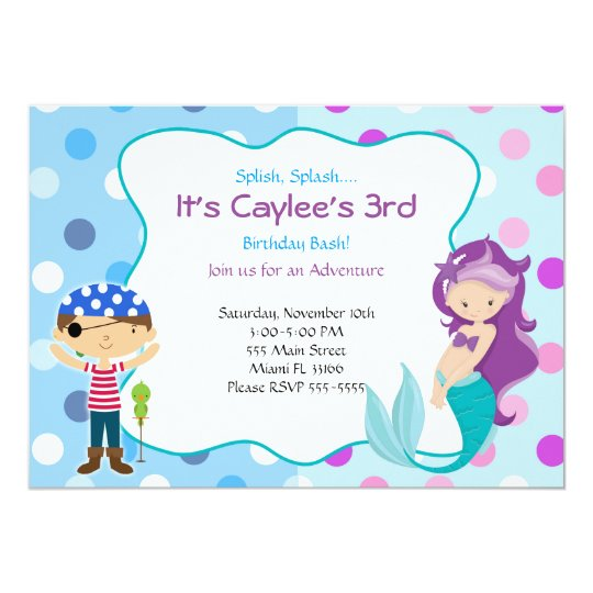 Pirate Mermaid Invitation Kids Birthday Party – Invitation for Kids Party