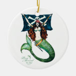 Pirate Mermaid Ornament Emerald/Gold — by KW