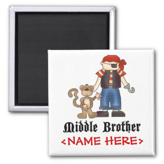 Pirate Middle Brother 2 Inch Square Magnet