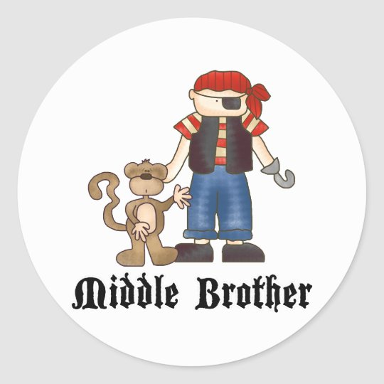 Pirate Middle Brother Classic Round Sticker
