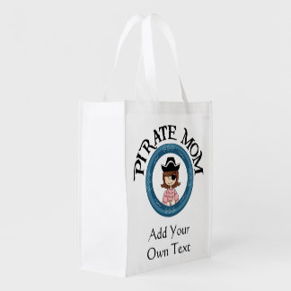 Pirate Mom With Eye Patch Reusable Grocery Bags