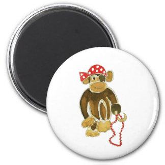 Pirate Monkey 2 Inch Round Magnet