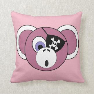 Pirate Monkey Pink Girly Jungle Animal Eyepatch Throw Pillow