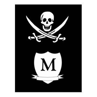 Pirate & monogram postcard