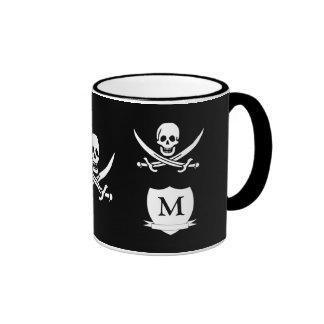 Pirate & monogram ringer mug