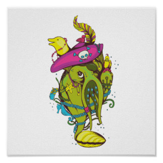 pirate monster squid octopus thing print