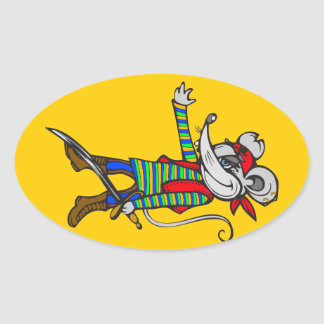 Pirate Mouse Oval Sticker