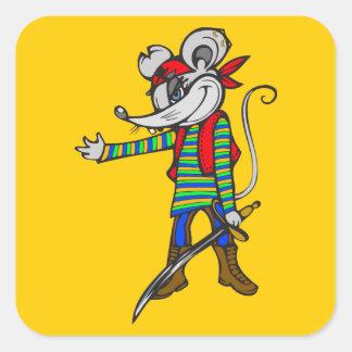 Pirate Mouse Square Sticker