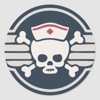 Pirate Nurse Wings III Classic Round Sticker