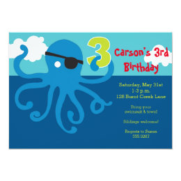 Pirate Octopus 3rd Birthday Swim Party Invite