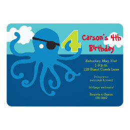 Pirate Octopus 4th Birthday Swim Party Invite