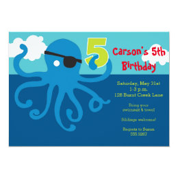 Pirate Octopus 5th Birthday Swim Party Invite